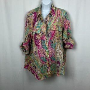 Ralph Lauren Cotton paisley shirt pockets XL